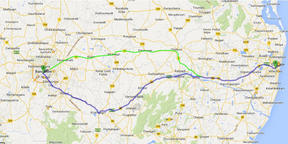 Routes to Bangalore